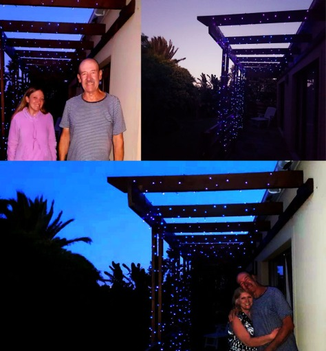 Husband finished his light work outside my parents' balcony that evening, so beautiful - lots of twinkly purple and blue solar lights, so we can see where we are going even when there's loadshedding.