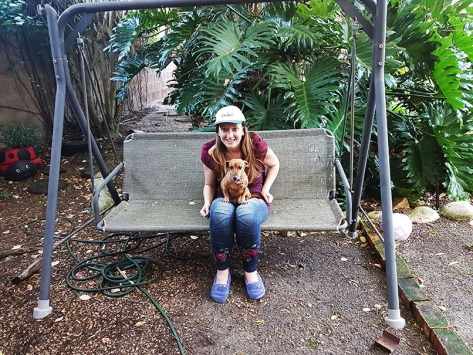 Bassie loved sitting on the swing bench with me on Thursday evening.