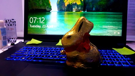 The return to work on Tuesday was sweetened by the Lindt buny waiting on my laptop.