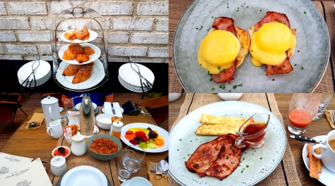 Scenes from breakfast on Sunday morning. See the pastry selection, platter of fruits, granola, yoghurt, smoothies and honey on each table, as well as the Le Creuset coffee carafe and our hot orders - eggs benedict with bacon for Husband and pancakes with bacon and honey for me.