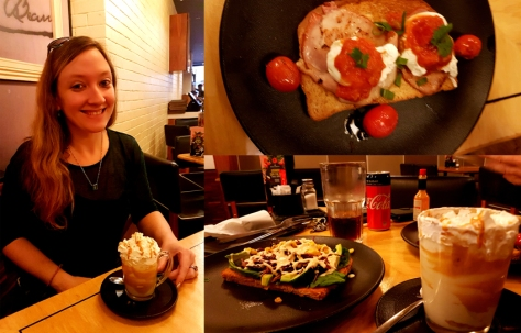 We started our Saturday with breakfast at Mugg & Bean in Bayside Mall. See my peanut-butter latte and avo-rainbow slaw toast, as well as Husband's egg-and-bacon toast, Coke Zero and cafe crema.