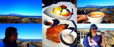 It was a crisp but beautiful day on Monday, so we started ours with breakfast at On the Rocks. See our cappuccinos as well as Husband's croque Madame and my French toast with berries and ice cream.