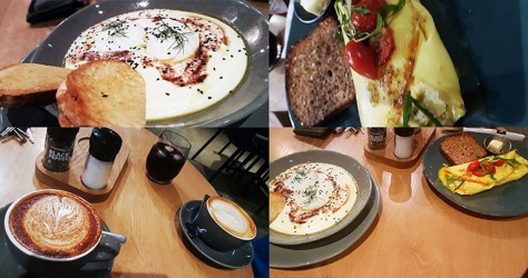 We had a mall admin morning on Sunday, so breakfasted at Woolworths Cafe. See my vanilla-cinnamon latte and poached egg bowl, as well as Husband's chilli omelette and double flat white.