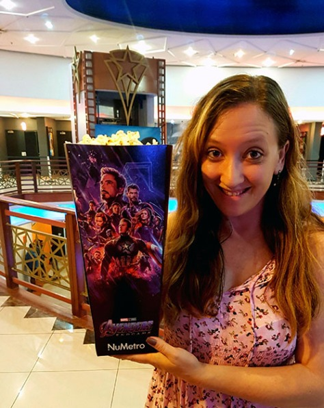 We watched Avengers: Endgame at GrandWest Casino on Saturday afternoon. As you can see, we splurged on the biggest box of popcorn we'd ever seen, especially as it was Avengers: Endgame themed. We did finish it, as the movie is three hours' long...