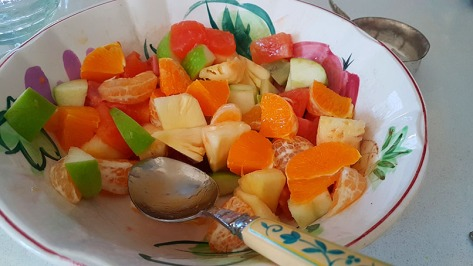 Mum let me know she had some fruit salad ready mid-morning last Friday when I was working from home, so I trotted across to her house.