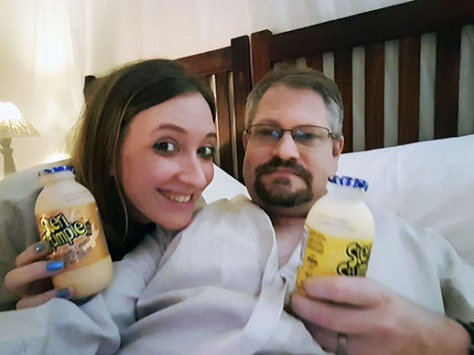 The standard gownie shot - with our pre-bed milk treats purchased in town.