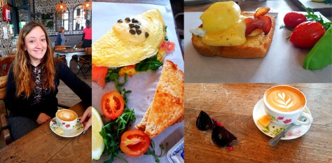 For our Saturday breakfast, we popped into Bread & Butter. See our flat whites as well as Husband's salmon-chorizo-cream cheese omelette, and my half portion of bacon eggs benedict.