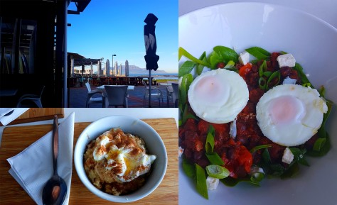 We wanted something on the healthier side of the street for Sunday breakfast, so went to Kauai at Eden on the Bay. See the lovely view as well as my almond oat pot and Husband's Mexican egg bowl. Not pictured: Our strong flat white coffees.