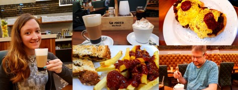 We slept in quite late on Saturday as my One Show work only ended at 5am. First stop was La Rocca in Canal Walk for breakfast. See my tiramisu latte, toasted sandwich and chips drenched in hot prego sauce. Hubcap went for the rib egg benedict and a cream-topped cappuccino.