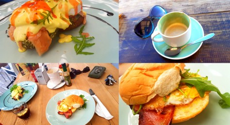 We decided on a little bit of a road trip for our Saturday breakfast, eventualy ending up at Melkbos Kitchen. The coffee was delicious, as was the food. See Husbamd's salmon-eggs benedict, as well as my bacon-egg buttie.