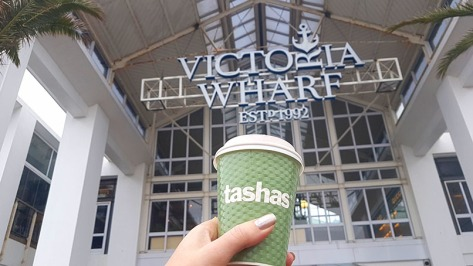 Perfect way to prep for a media roadtrip - takeaway cappuccino from Tasha's, then onto the shuttle!