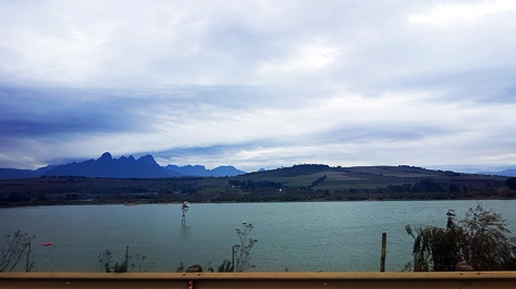 This view of the submerged windwill is visual proof that you're almost in Stellenbosch.