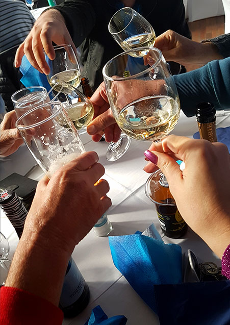 Cheers! We brought our own bottle of bubbly along to toast all the dads at the table.