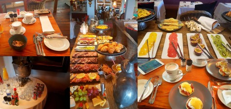 Breakfast's the best meal of the day, especially if you have yours at Abalone House! See the buffet table spread, Bloody Mary station, where guests are encouraged to fix their own, Terbodore cappuccinos and our Eggs Benedicts - parma ham for me, salmon for Husband. Yum!
