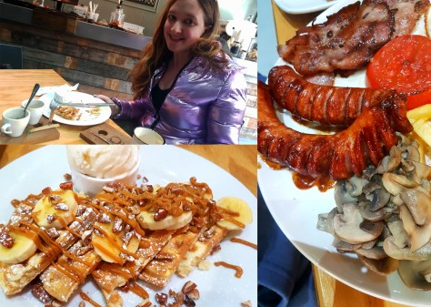 See my thick, puffy jacket (Winter is truly here), as well as close-ups of the food - my banana-caramel waffle pop and Husband's full brekkie (he saw another plate go past with those sausages and promptly changed his order, teehee).