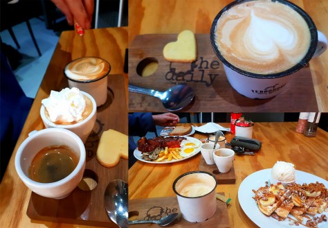 As it was a public holiday on Monday because Youth Day fell on Sunday, we slept in a bit then headed to The Daily at Seaside Village in Big Bay for breakfast, once I'd done some work. See Husband's 'tasting tray' coffees, my Tin Cup and our breakfasts.