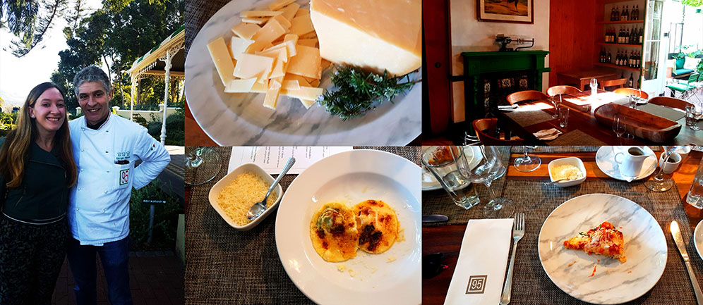 I also had my pic snapped with Chef Nava, of course! See the delicious cheese we snacked on, the cosy setting, our first course of spinach and butternut ravioli, and the deep-fried Pasta Montenara.