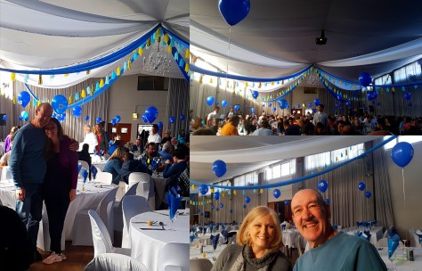 The inside was festively decked with balloons and crisp white tablecloths and chair covers.