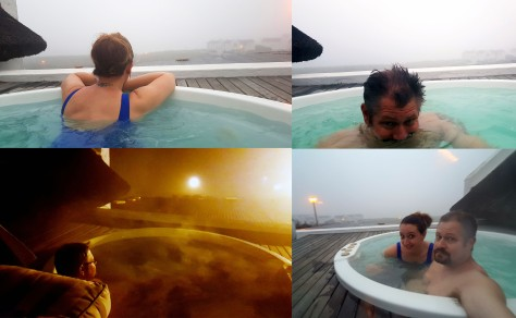 You'll find me in the Jacuzzi... The rooftop Jacuzzi seemed to heat up much faster than on our previous visit, so we spent much of our afternoon there, gazing across the bay when the mist allowed. Also see Husband having a final steamy dip after dinner in the bottom-left pic.