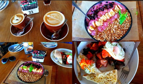 We decided on a slightly different breakfast on Saturday, at Primi on Marine Circle - see our coffees (flat white cappuccino for Husband, Mocha Forte for me), as well as our breakfasts - the berry pretty super protein bowl for me, the full Primi Power for him. Pricy but filling (I brought half of mine home for the next day).