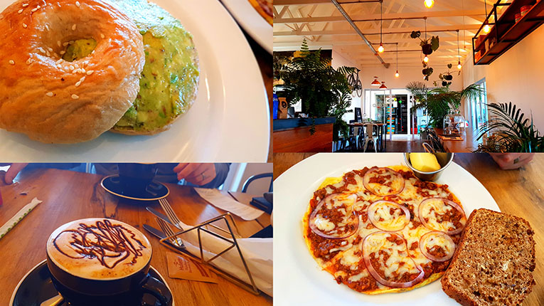 Sunday was a 'Reload Leadville' kind of morning, so we popped in for breakfast. See my mashed avo bagel and peppermint-choc latte, as well as Husband's 'trim' omelette. We also gret numerous happy doggies having walkies with their owners.