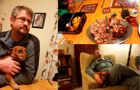 Husband and Bassie pre- and post-dins. Lol! Bertie was there too, but moved too fast for photos.