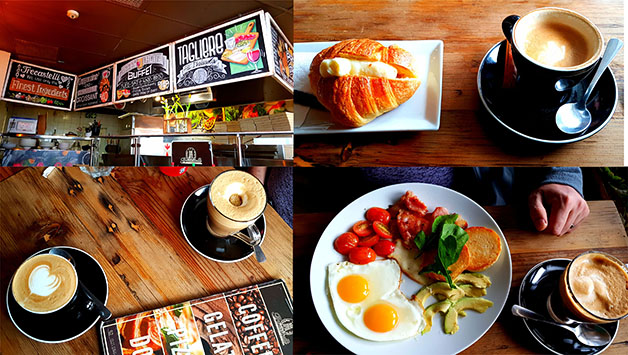 See our breakfast at Trecastelli on Marine Circle last Saturday morning. Flat whites and the cooked breakfast for Husband (it's not on the menu but quite a popular choice), while I had the cappuccino-croissant special.