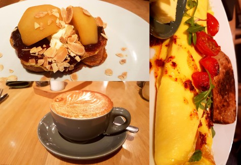 We started our weekend with breakfast at Woolworth's in Table Bay Mall. See my croissant French toast and vanilla-cinnamon cappuccino, as well as Husband's enormous chilli egg omelette.