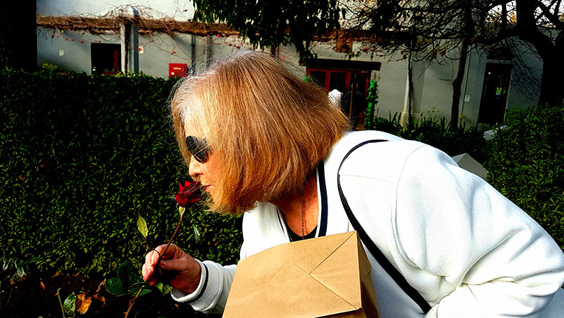 Mum stopped to smell a rose in the garden on our way out.