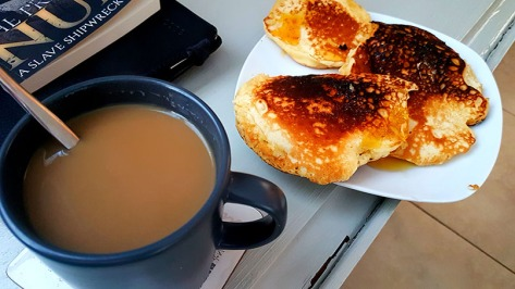 When I got home from work on Tuesday, Mum quickly whipped up a batch of crumpets and served with coffee. Yum!