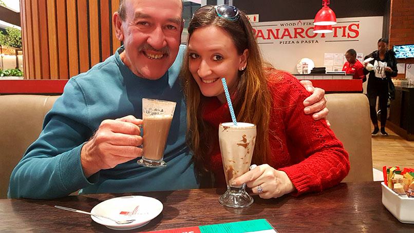 Dad and me, enjoying our Amarula hot chocolate and Nutella mikshake accordingly.