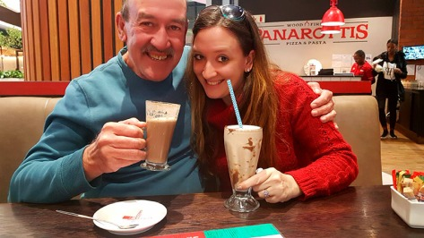 Dad and me, enjoying our Amarula hot chocolate and Nutella mikshake accordingly.