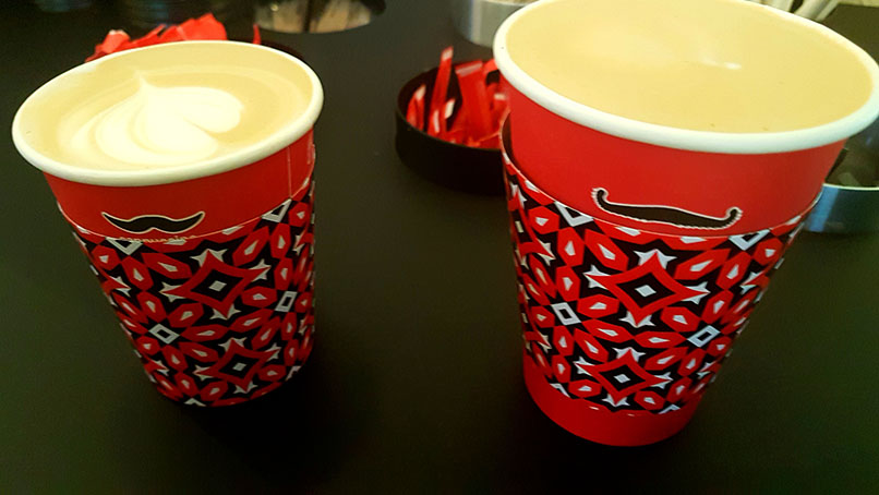 We were a little early for our movie at GrandWest casino on Saturday afternoon so stopped at Vida e Caffe for a coffee first. See my standard cappuccino and Husband's triple.