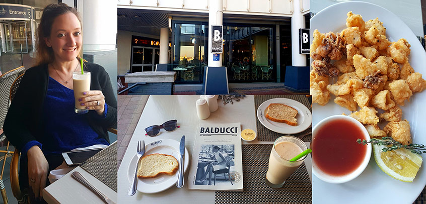 We were invited to review the new winter lunch specials at Balducci's in the V&A Waterfront that afternoon. See my Amarula Colada shake and Husband's salt-and-pepper squid starter.