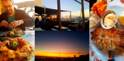 More snaps of the sunset, also see Husband's angle fish with veggies. Yum!