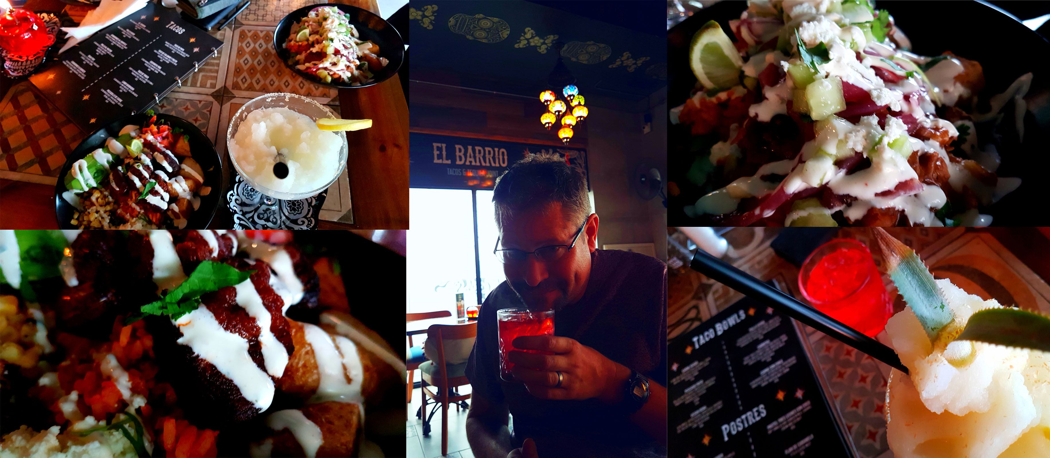 We'd not been to El Barrio in Eden on the Bay for a long time, so that's where we had our Saturday lupper. See my pina-pina frozen margarita and his 'little mamasita', as well as my carnita (pork) and his 'carne con chile' taco bowl.