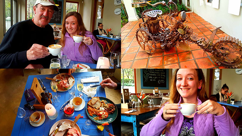 Mmm! We had alight lunch of gammon sandwiches and cured fish platters, with lovely cappuccinos.