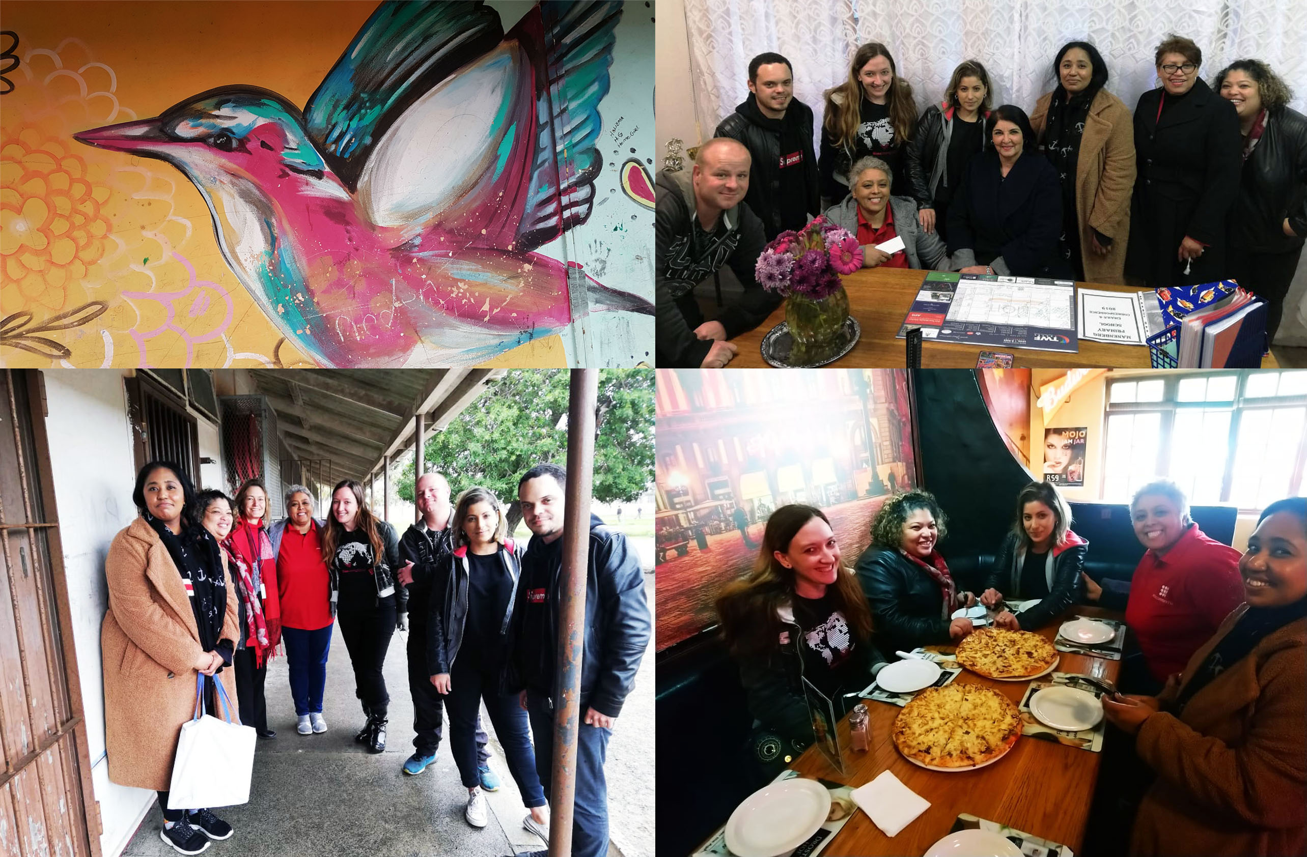 A bit of rain didn't stop the team's 67 Minutes for Mandela Day activities. We delivered sweet treats and bookmarks to all the kiddies of Manenberg Primary School, and read to 70 learners from the grade 1 and 2 classes. Also see the pretty birdie painted on one of the exterior classroom walls, and our quick team pizza lunch at Ashley's Family Restaurant post-event.