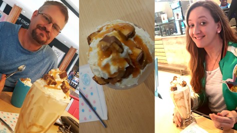 We stopped in at Milky Lane in Table Bay Mall for our Sunday afternoon treat. See Husband's Crunchie whizzer and my 'Chocolate Peanut Butter Cup & Crunchie creamy coffee' shake. Yes, really.