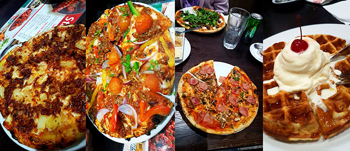 On Tuesday night we ventured out to Panarotti's at Table Bay Mall for their R59 pizza special. See our four different pizzas here as well as a Belgian waffle to end the meal.