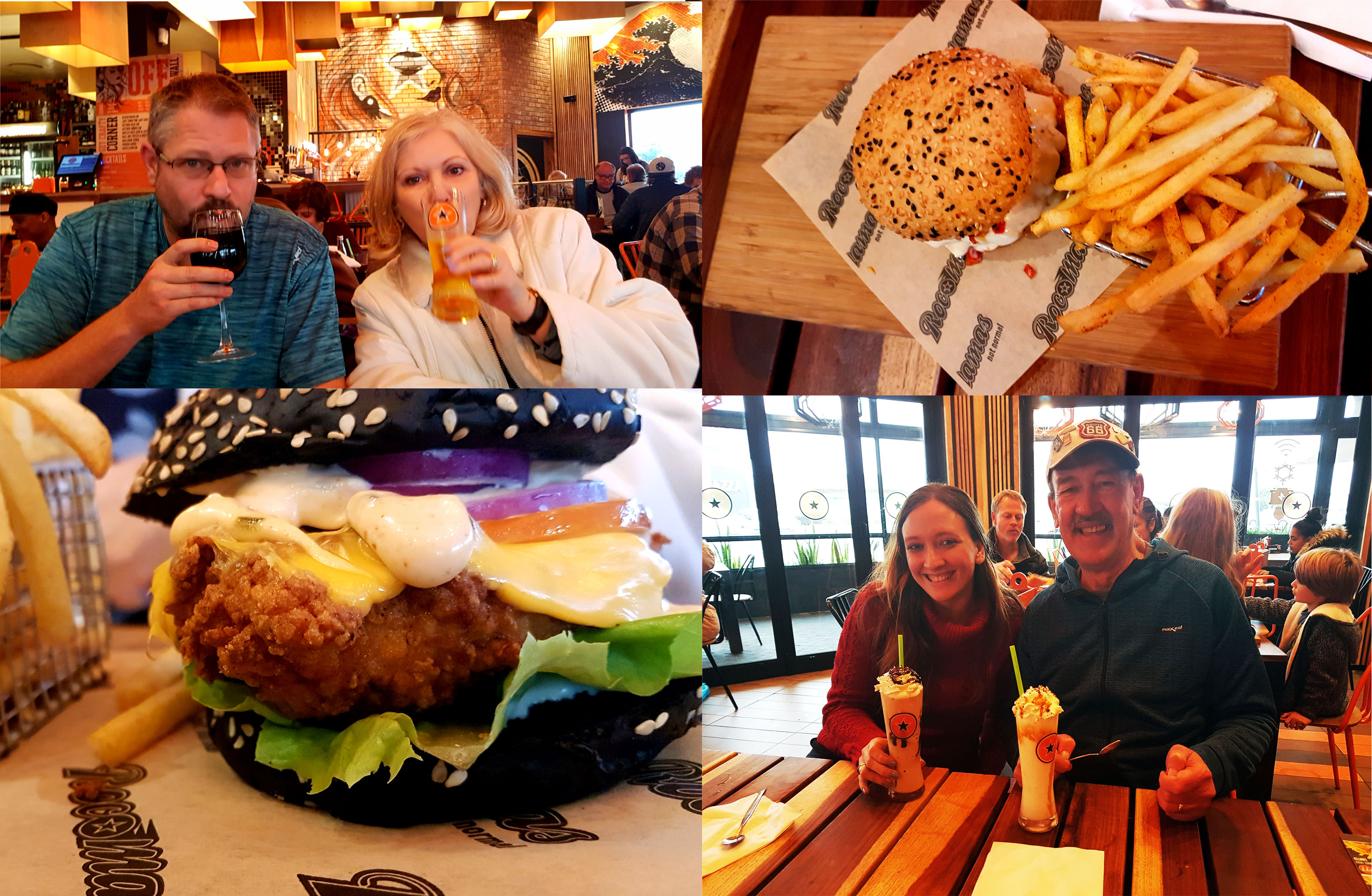 Husband took a break that afternoon so we all headed off to Rocomama's together for a few fast favourites. See me and Dad with our shakes, Husband and Mum with their wine and beer, and Mum's impressive black-bunned burger. Very tasty.