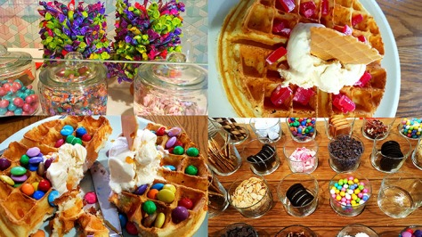 Everything is so bright and beautiful that we wanted to add it all to our waffles. In the end we both had a scoop of caramel ice-cream, with a Smarties-Astros mix on mine and Turkish Delight for Dad.