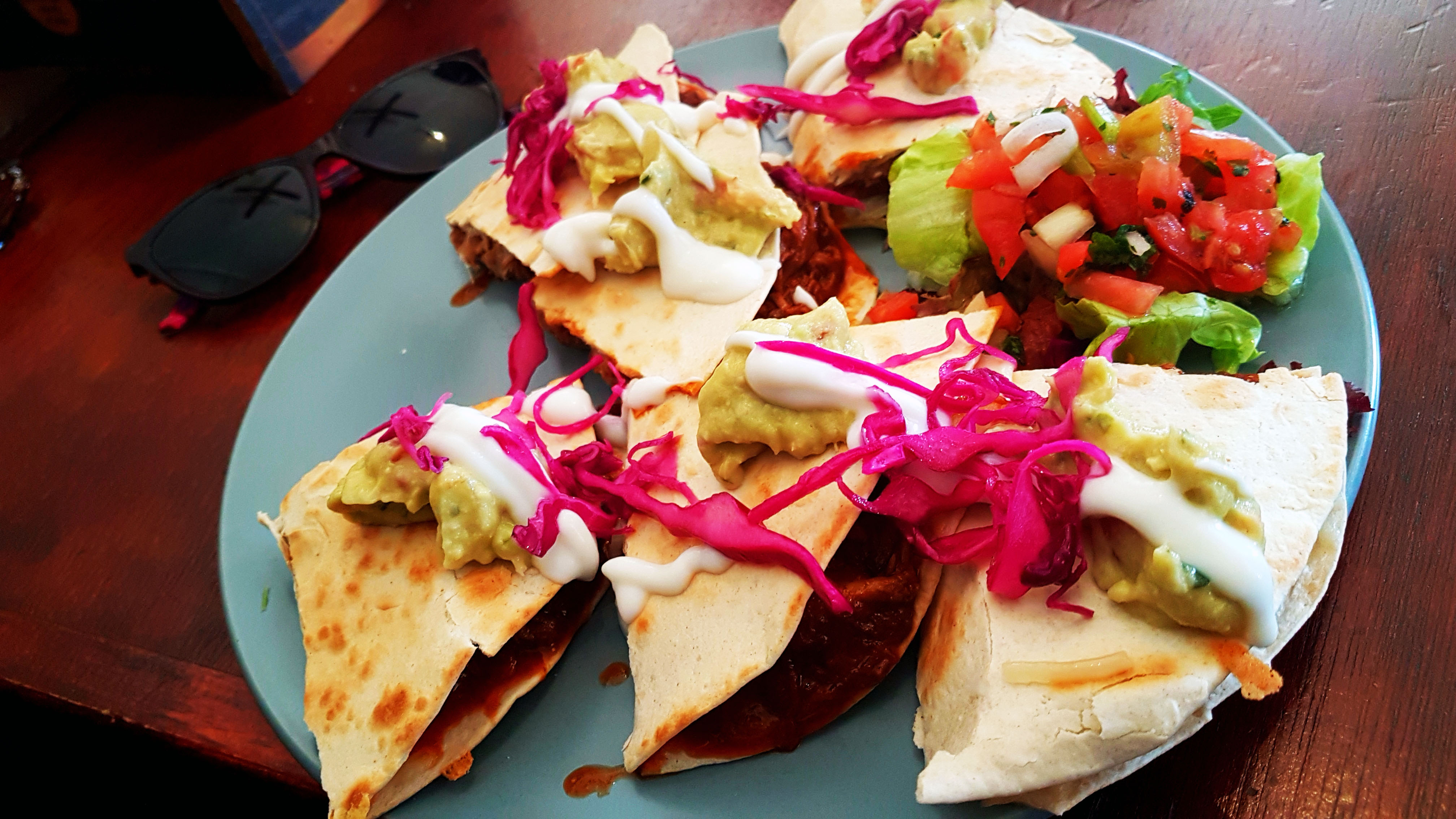 Deciding what to eat was tough. In the end I went for this, the Happy Hog quesadillas, with BBQ pulled pork, cheese and chilli pineapple salsa. Yum! Washed down with an espresso shake, of course.