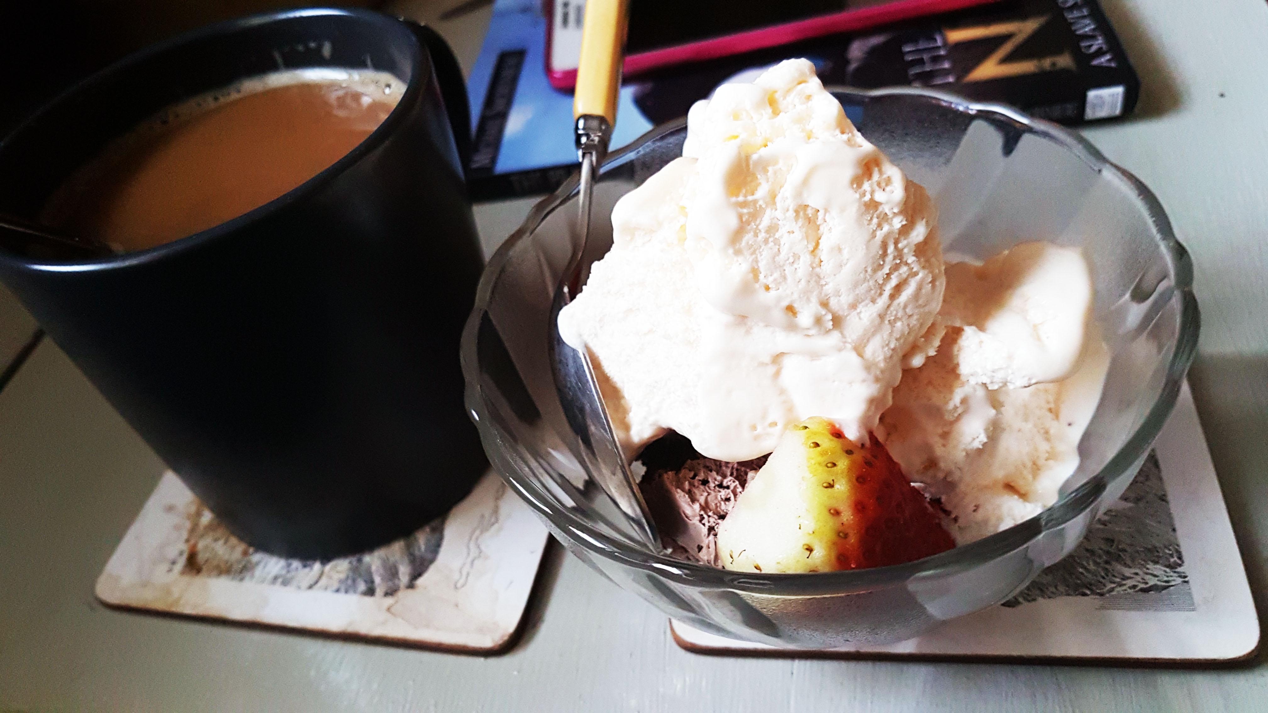 Strawberries, choc cake and ice cream with coffee for Sunday evening dessert at Mum's.