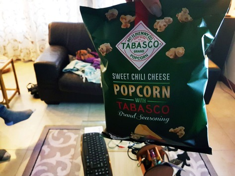 Tabasco was unimpressed that this bag of movie popcorn shared her name.