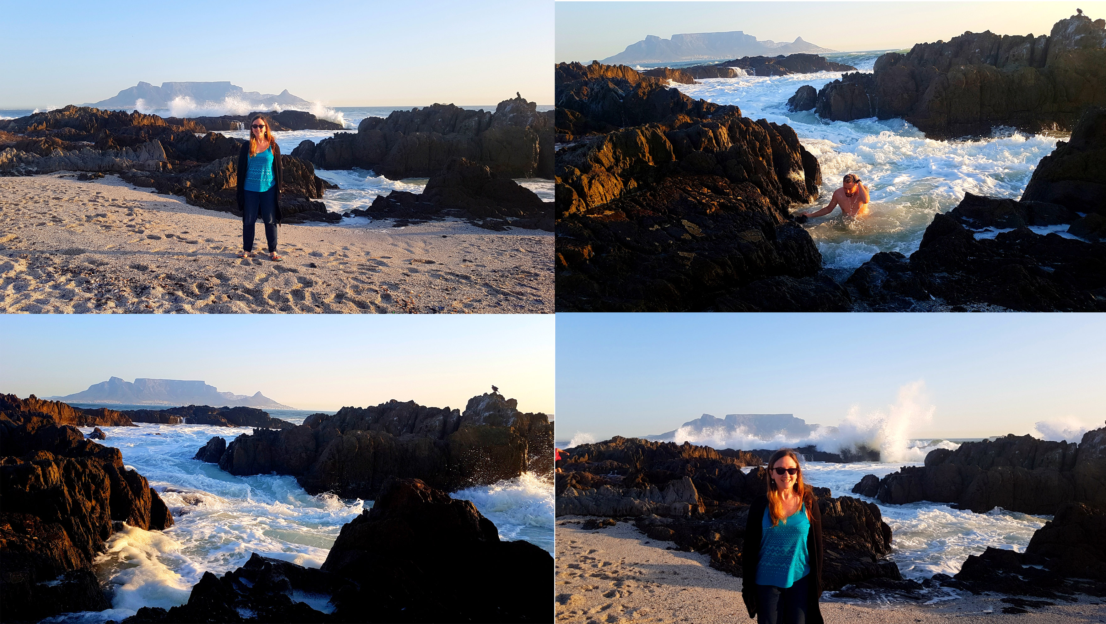 We called these pics 'calm before the storm' - see the waves crashing on the rocks in the background! Husband also had his customary weekend dip in the sea.