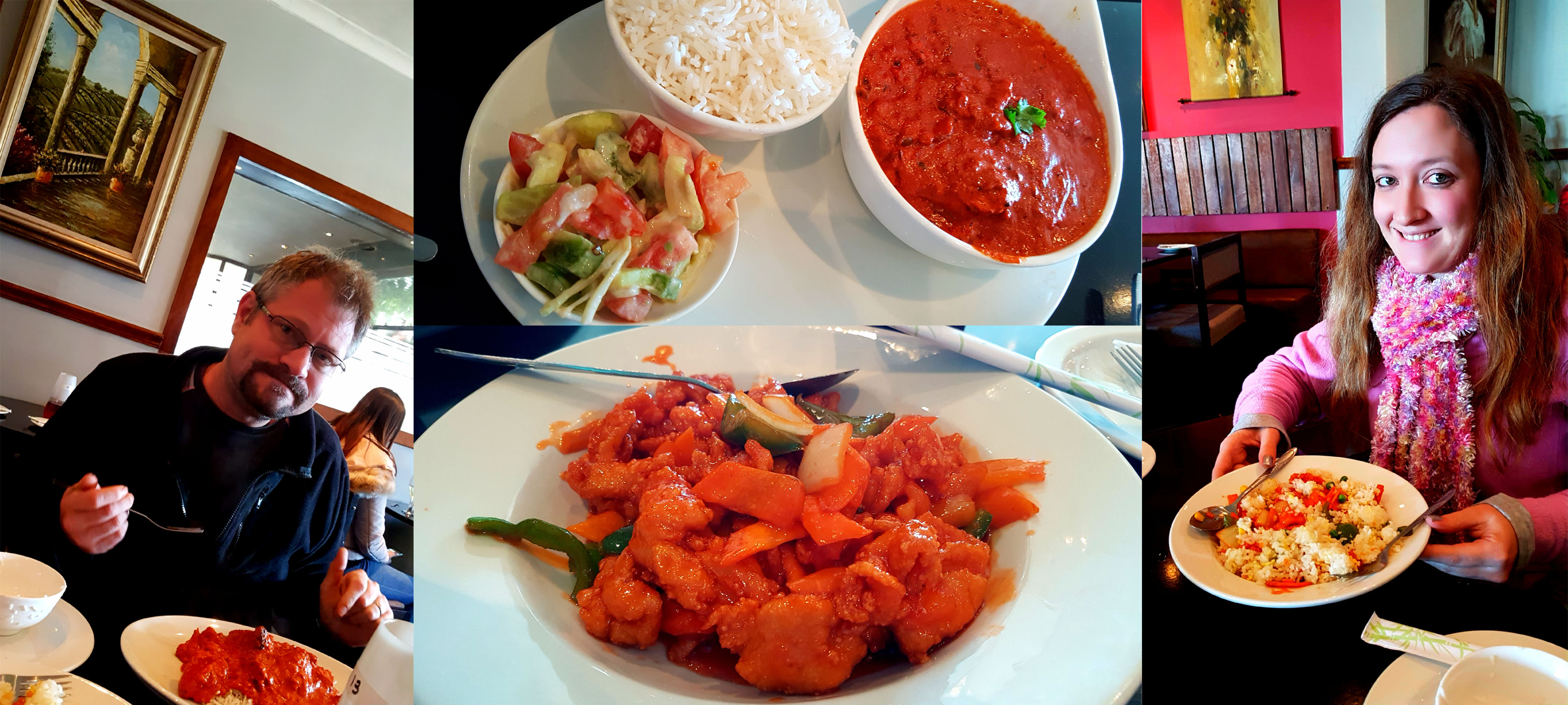 After a day of napping and reading, we ventured out for lupper at Colala in Table View, See Husband's chicken kadai curry and my sweet-and-sour chicken.