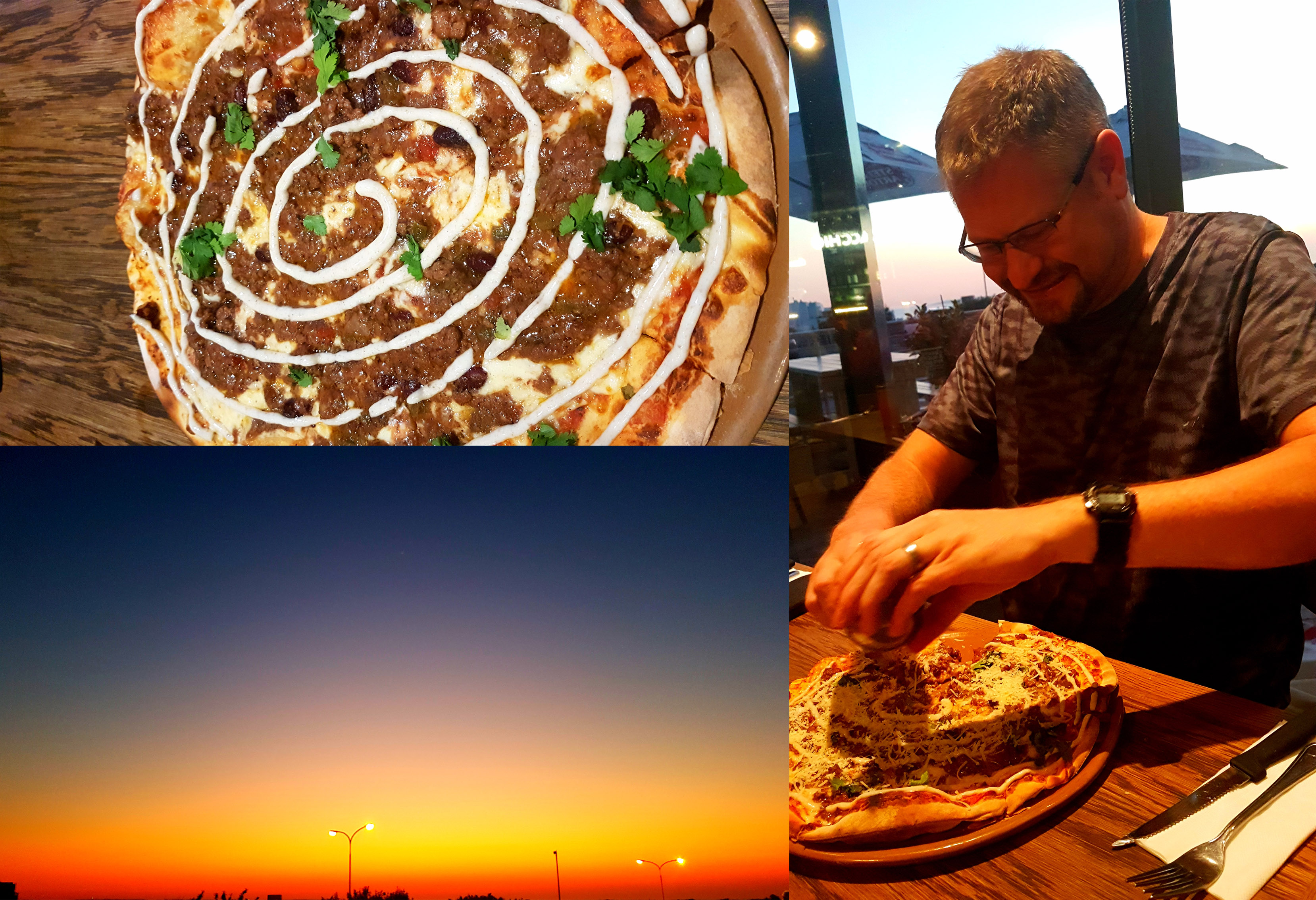 By Saturday evening we were a little peckish again so see the Otomi (chilli con carne, coriander, spiced yoghurt) pizza we shared at Col'cacchio, Seaside Village. Also see the sunset over the sea.