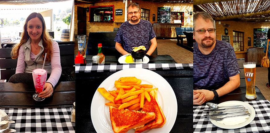 We stopped at Driftwood Cafe for a late-lunch on Sunday. See my pink strawberry shake and toasted chicken mayo, as well as Husband's Castle Lite draught with the chicken curry special.