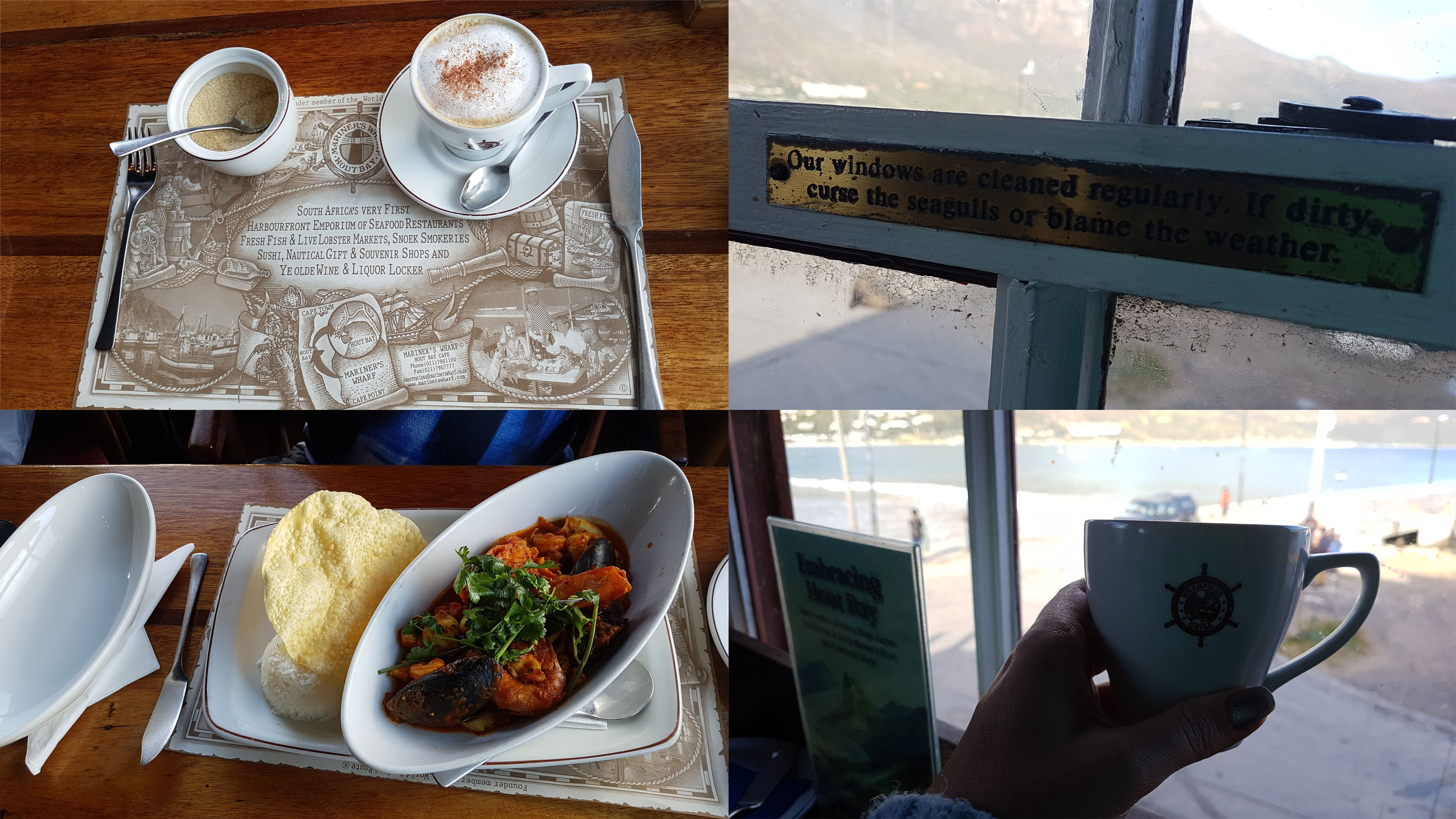 """I was still full from my slap chip session so stuck with a cappuccino while Husband sampled the seafood curry at the Mariner's Wharf restaurant upstairs. The slogan in the window frame says, """"Our windows are cleaned regularly. If dirty, curse the seagulls or blame the weather."""""""